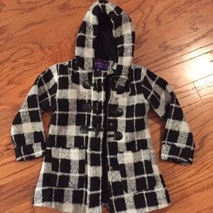 Madden Girl Faux Wool Plaid Coat